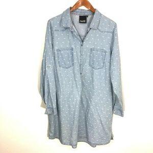 nanette lepore chambray printed tunic shirt dress